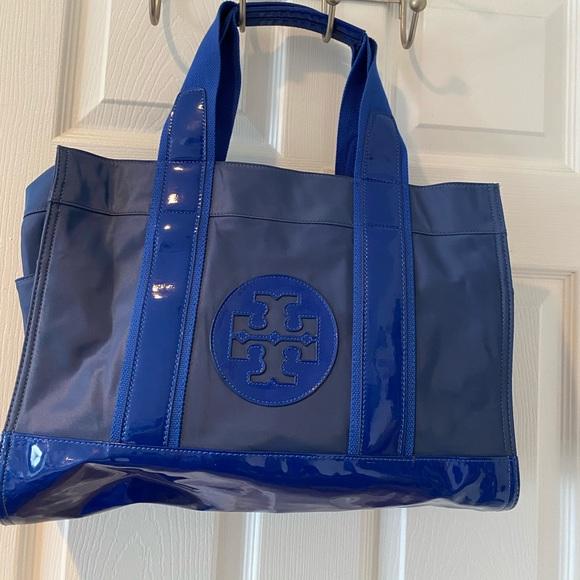 Tory Burch blue nylon/pat leather tote